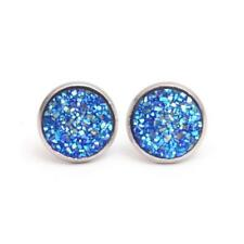 Boho Silver Size 12mm False Druzy Ear Stud Women Natural Stone Quartz Earrings 9 Light Blue