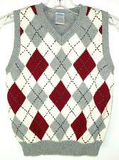 Gymboree Vest Size 5 Gray and Wine Child's Argyle Vest