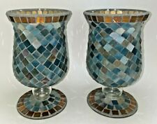Mosaic Blue Multi Stained Glass Tiles Hurricane Candle Holder  / Vase~ A Pair