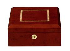 NEW Burl Wood Finish Six Watch Box Storage Chest Display Case