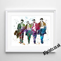 THE BEATLES Print Poster Watercolour Framed Canvas Wall Art MUSIC