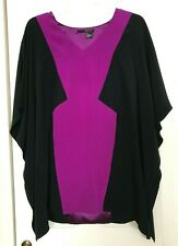Jay Godfrey Hardee Kimono Mini Dress 100% Silk Black/Purple Sz 2 Cocktail V-neck