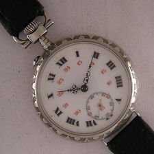 Early Cylindre'1900 Antique French Gent's Engraved Wrist Watch Perfect Serviced