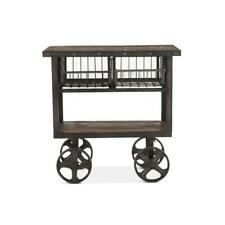 "Rustic Industrial Metal Bar Cart 36"" - Cast Iron Reclaimed Hardwood"