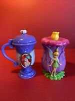 Lot Of 2 Disney On Ice Hinged Cups. Ariel And Tinkerbell.