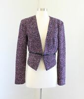 Calvin Klein Black Pink Tweed Zipper Accent Cropped Moto Blazer Jacket Size 4