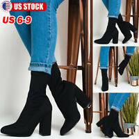 Women Ankle Stretch Sock Boots Pointed Toe Chunky Block High Heel Booties Size