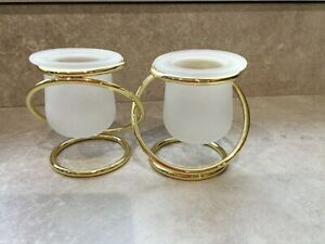 Partylite P7106 Gemini Twin Frosted Glass/Gold Intertwined Candle Holder New