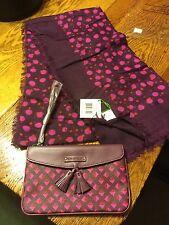 Vera Bradley Bag Tassel Wristlet Purse Plum Studs