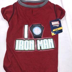 "Marvel Pet Fans Collection - Red Marvel ""I Heart Iron Man"" Dog/Pet T-Shirt Lrg"