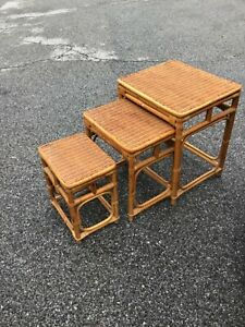 Vintage 70's Wicker Nesting Tables - Boho Rattan Bamboo Natural MCM