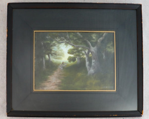 Antique 1880s Oil Painting Gertrude A Brooks Shepherd Flock California Artist