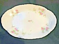 "D & EG Royal Austria Pink Floral Porcelain Oval Platter Serving 9"" x 13"" Antique"