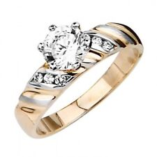 14K Two Tone Solid Gold 6mm Simulated Diamond Center Solitaire Engagement Ring