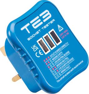 UK Mains Socket Tester 240V Polarity Test 3 Pin Plug Electrical Wiring TE3