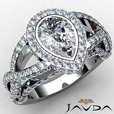 Halo Pre-Set Pear Diamond Heavy Engagement Ring GIA F VS1 18k White Gold 2.86ct
