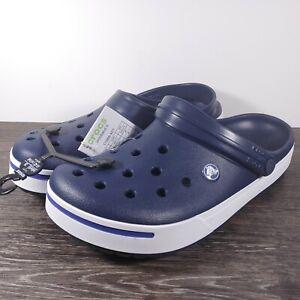 Crocs CrocBand II 'Navy Blue' White Clogs Mens Size 10/Womens Size 12 11989-42T