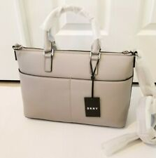 DKNY Commuter Leather Top Zip Travel Tote -  NEW - Grey