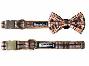 dog puppy collar bow stripe check wedding metal buckle