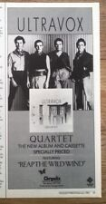 ULTRAVOX Quartet magazine ADVERT/Poster/Clipping 11x4 inches
