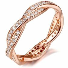 Rose Gold Plated 925 Sterling Silver Infinity Cz Stackable Band Ring 14K