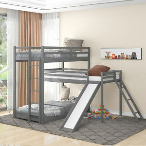 L-shaped Triple Bunk Bed Twin Bunk Bed with Attached Twin Loft Bed Ladder Slide