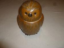 """VINTAGE OWL CERAMIC COOKIE JAR RETRO UNUSUAL 1960S BIRD ANTIQUE BROWN 9 1/2"""" >>"""
