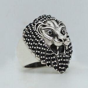 Lion King Black onyx Men Ring 925 Sterling Silver biker rider animal ring Size 9