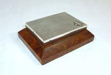 Boîte en bois avec Couvercle Argenté À 1900 argent Armoiries Cartes de visite