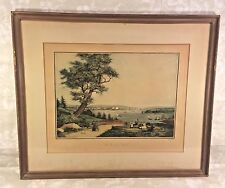 "Ant French ""Vue De New York"" Harbor Print in Frames by Engraver Ambrose Garneray"