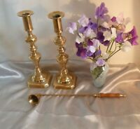 Pair of Antique Victorian Brass Candlesticks-Diamond & Beehive & Candle Snuffer