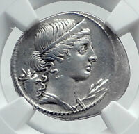 OCTAVIAN AUGUSTUS Authentic Ancient 32BC Original Silver Roman Coin NGC i81445