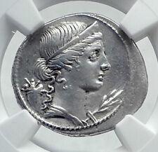 OCTAVIAN AUGUSTUS Authentic Ancient 32BC Original Silver Roman Coin NGC i81445