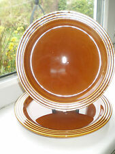 Hornsea Pottery Heirloom Side Plates 18 cm x 2 Brown 1970s Vintage Retro