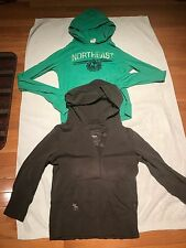 Junior Girl A&F: Long Sleeve Shirt With Hood, 1/2 Button Up Size Large