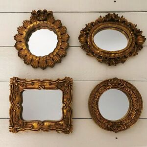 """4 Small Accent Wall Mirrors 6""""x 7"""" Gold Ornate Hollywood Regency Frame Vtg Style"""