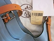 HERMES PARIS MARWARI GM BAG HANDBAG LEATHER BLUE BROWN COLOR ORIGINAL TAG