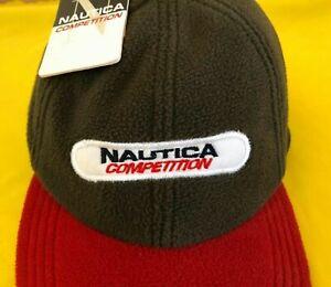 Vintage Nautica Competition Fleece Strapback Cap Hat Nautica Sailing Fleece Cap