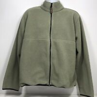 VTG LL Bean Deep Pile Fleece Jacket Mens Size L Full Zip Light Green Pockets