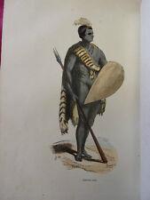 COSTUME AFRIQUE / Guerrier Cafre 1847 rehaussée de couleurs