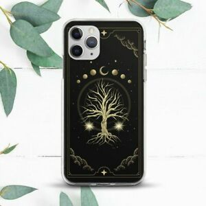 Gold Tree Of Life Moon Phases Black Case For iPhone 7 8 X SE 11 12 13 Pro Max XR