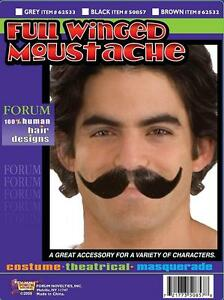 Full Winged Moustache Fancy Dress Up Halloween Adult Costume Accessory 3 COLORS