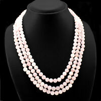 BEST QUALITY 512.50 CTS NATURAL 3 LINE PINK ROSE QUARTZ ROUND BEADS NECKLACE