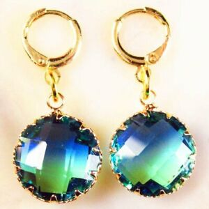 Wrapped Faceted Blue Green Tourmaline Crystal Round Pendant Bead DIY Earring