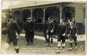 Vintage Pre WWI:1911 RP POSTCARD: ROYAL NAVY: H.M.S DREADNOUGHT FOOTBALL TEAM