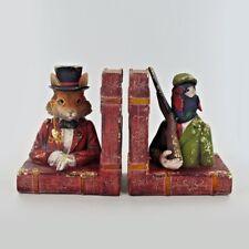Dapper Animal Bookends Hunting Pheasant & Fox Unique Shelf Tidies Books 80309
