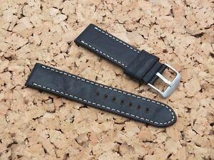Genuine Leather QR Bison Grain Watch Strap 23mm Black by Watchgecko / Geckota