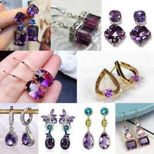 Oval Amethyst 925 Silver Ear Hook Drop Dangle Earrings Women Wedding Jewelry