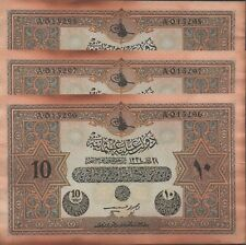 Turkey  10  Lira  1334/1918  P 110x  3 Consecutive notes  Uncirculated Banknote