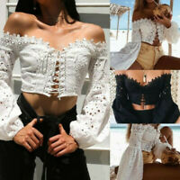 Women Casual Off Shoulder Slash Neck Puff Sleeve Lace Loose Blouse Tops T-Shirt
